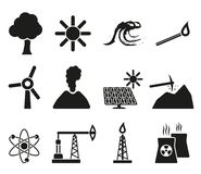 Energy and resource icon set Royalty Free Stock Images