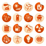 Energy & resource stickers. Set of energy and resource stickers Royalty Free Stock Image