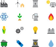 ENERGY RESOURCES colored flat icons Stock Photography
