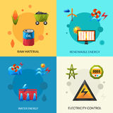 Energy Resources Icons Set Stock Photography
