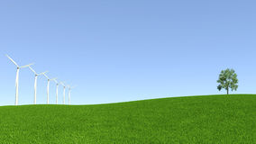 Energy resources, wind turbine and clean environment.  Royalty Free Stock Photo