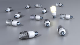 Energy save bulbs. On grey background Stock Images