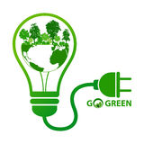 Energy save concept with green forest Stock Photo