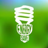 Energy save concept poster with lightbulb Royalty Free Stock Photo