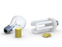 Energy save lamp and money Royalty Free Stock Photos
