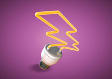 Energy saver light bulb forms shape of lightening bolt on bright purple background. An energy saver light bulb forms shape of lightening bolt. Saving electricity stock images