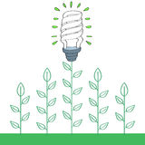 Energy saver light bulb with green plants stock illustration