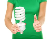 Energy saver light bulb - woman showing. Big fluorescent light bulb to camera. Green energy, bright idea concept on isolated on white background Stock Images