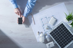 Energy Saving And Mobile Apps Royalty Free Stock Photo