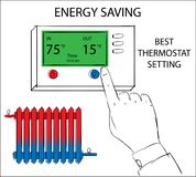 Energy saving best thermostat setting. Hand pressing button on digital thermostat Stock Image