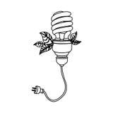 energy-saving bollen met het pictogram van de machtskabel Royalty-vrije Stock Foto's