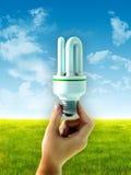 Energy saving bulb. Hand holding an energy saving bulb over a summer landscape. Digital illustration Royalty Free Stock Photography