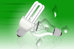 Energy saving bulb crashes the light bulb Royalty Free Stock Photos