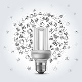 Energy saving bulb with diagram icons Stock Photos
