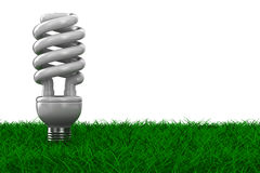 Energy saving bulb on grass Royalty Free Stock Photos