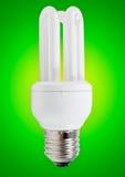 Energy saving bulb on green Stock Image