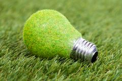 Energy saving bulb on green grass Stock Photo