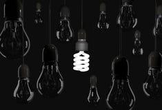 Energy saving bulb lighting black room with incandescent bulb ha Stock Photos