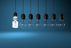 Energy saving bulb lighting room with incandescent bulb on wires Royalty Free Stock Photography
