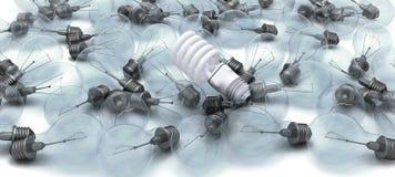 Energy saving bulb on obselete light bulbs Stock Photography