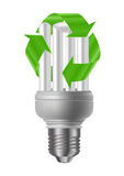 Energy saving bulb with recycle sign Royalty Free Stock Photos
