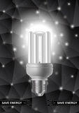 Energy saving bulb with triangle background Stock Photo