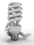 Energy saving bulb on white background. Isolated 3D image Royalty Free Stock Photography