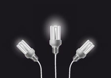 Energy saving bulbs with cords Stock Photos