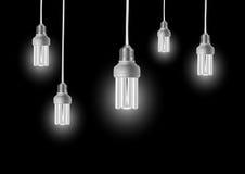 Energy saving bulbs with cords Royalty Free Stock Photos