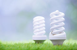 Energy Saving Bulbs In The Grass Royalty Free Stock Photos