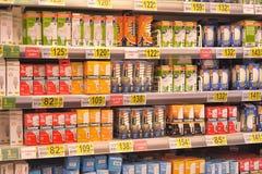 Energy saving bulbs. On the supermarket shelf Stock Photography