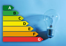 Energy saving chart with lightbulb Stock Photos