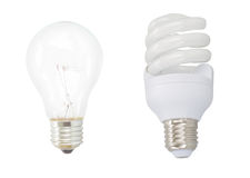 Energy saving and common electric bulbs Royalty Free Stock Photos