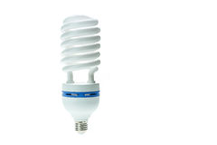Energy saving compact fluorescent lamp, Spiral shape. Isolated o Royalty Free Stock Photo