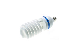 Energy saving compact fluorescent lamp, Spiral shape. Isolated o Royalty Free Stock Image