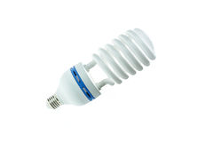 Energy saving compact fluorescent lamp, Spiral shape. Isolated o Stock Image