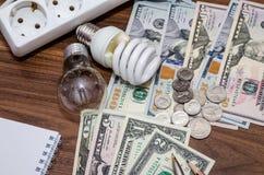 Energy saving concept. Electric light bulb with dollar bills, pen. And calculator stock photos