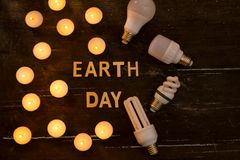 Energy saving. Concept by the hour of the earth, an hour without light.  stock photo