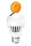 Energy Saving Concept. Led Bulb with Golden Coin Royalty Free Stock Images