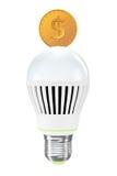 Energy Saving Concept. Led Bulb with Golden Coin Royalty Free Stock Photos