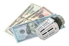 Energy saving concept with radiator thermostatic valve and money. Energy saving concept with radiator thermostatic valve royalty free stock images