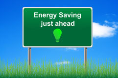 Energy saving, concept road sign. Stock Image