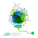 Energy saving concept. Vector illustration of light bulb with outline trees, alternative wind and solar energy generators. Stock Photos