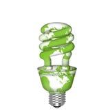 Energy Saving Eco Lightbulb with World Map. On White Background Stock Photo
