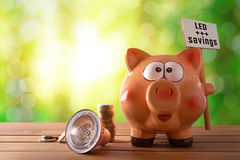 Energy saving and efficiency with led bulb and banner. Concept of energy saving and efficiency with led bulb, coins and piggy bank with les savings banner on royalty free stock photo