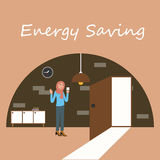 Energy saving electricity switch off lamp turnght Royalty Free Stock Images