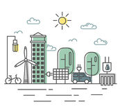 Energy saving and environmentally friendly technologies, alternative energy sources. The town streets in a flat linear royalty free illustration