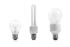 Energy saving and filament bulb Royalty Free Stock Images