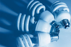 Energy saving fluorescent electric light bulbs Royalty Free Stock Photos