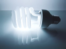 Energy saving fluorescent light bulb Stock Images